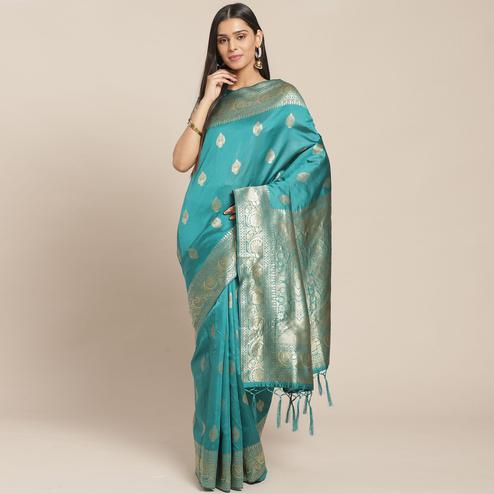 Opulent Teal Green Colored Festive Wear Woven Silk Blend Saree