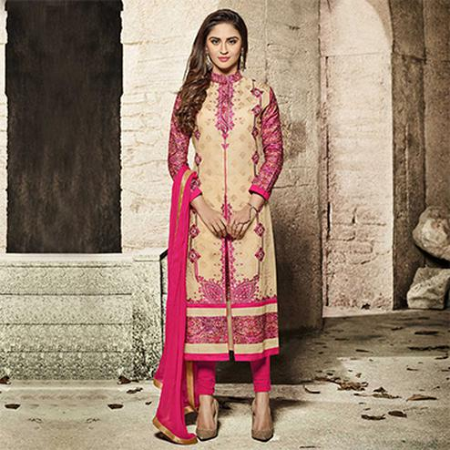 Elegant Beige-Pink Designer Embroidered Glass Cotton Salwar Suit