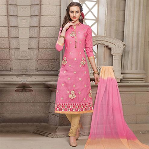 Pink Embroidered Work Casual Wear Poly Cotton Unstitched Salwar Suit
