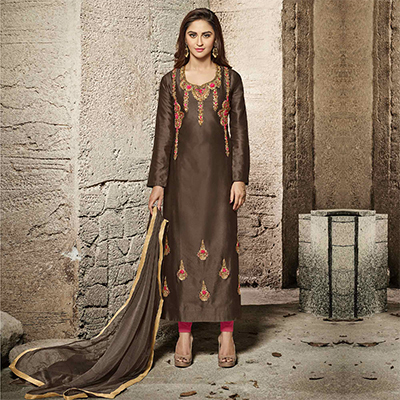 Classy Brown Designer Embroidered Glass Cotton Salwar Suit