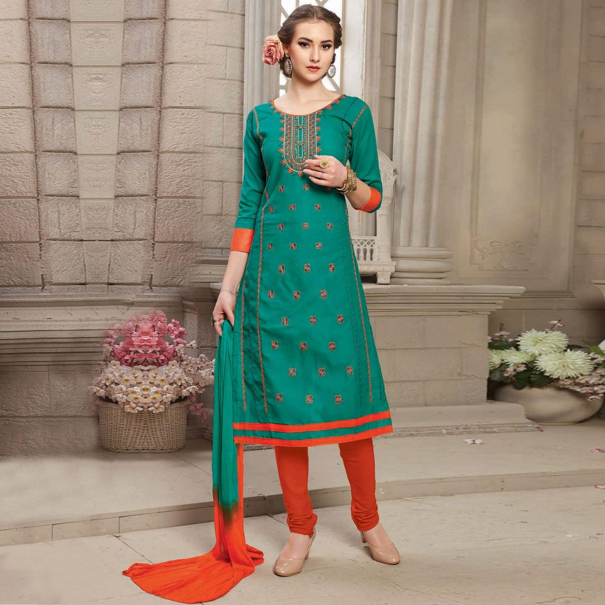 Green Embroidered Work Unstitched Ploy Cotton Suit