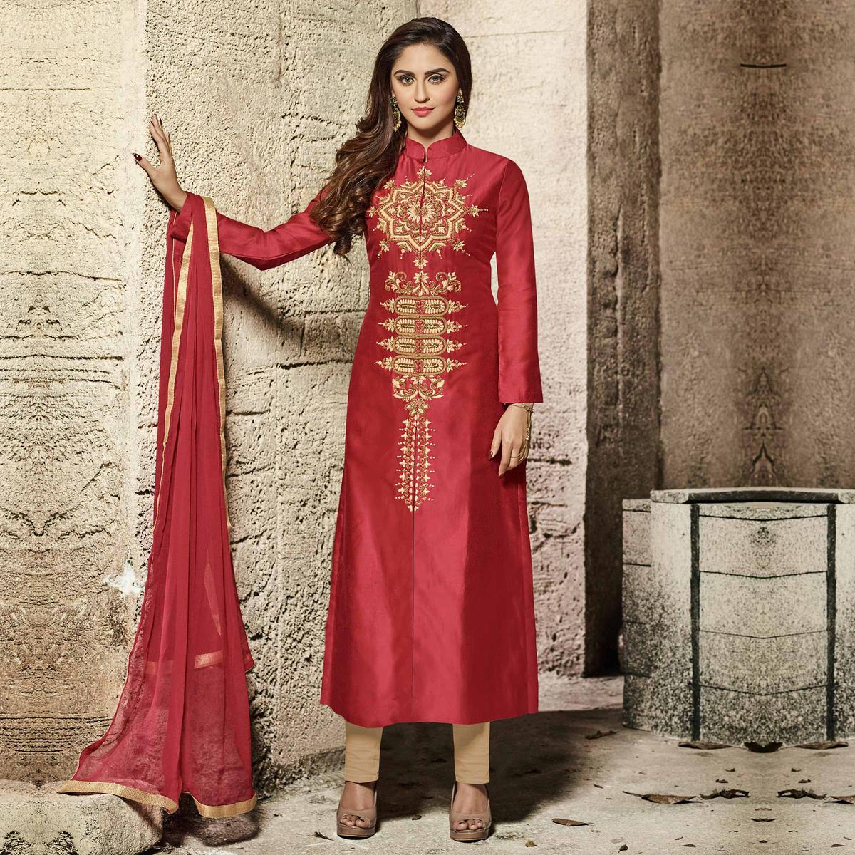 Ravishing Red Designer Embroidered Glass Cotton Salwar Suit