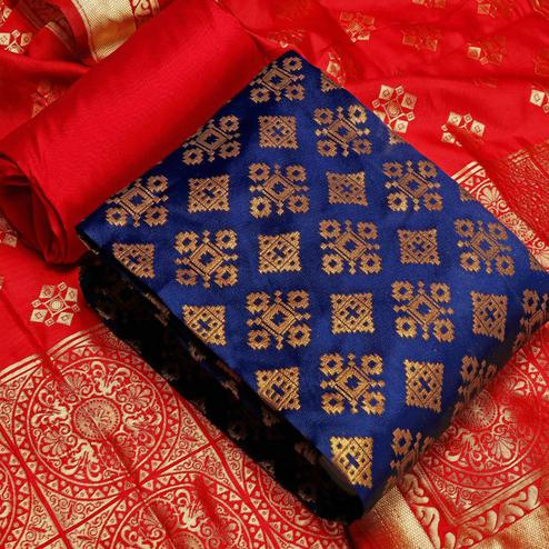 Imposing Blue Colored Festive Wear Banarasi Silk Dress Material