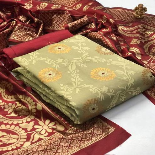 Majesty Chiku Colored Festive Wear Banarasi Silk Dress Material