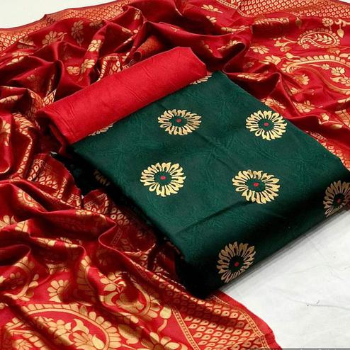 Mesmerising Dark Green Colored Festive Wear Banarasi Silk Dress Material