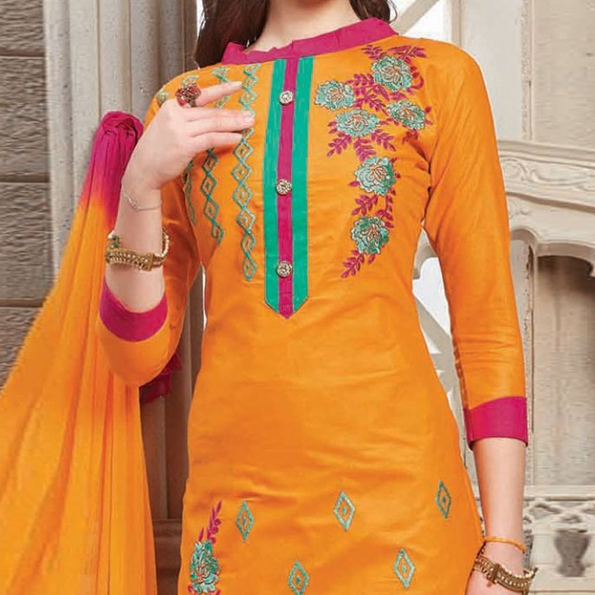 Orange Floral Embroidered Work Straigth Cut Poly Cotton Suit