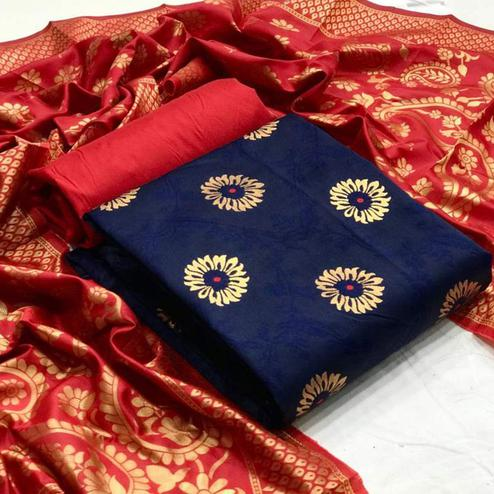 Breathtaking Navy Blue Colored Festive Wear Banarasi Silk Dress Material