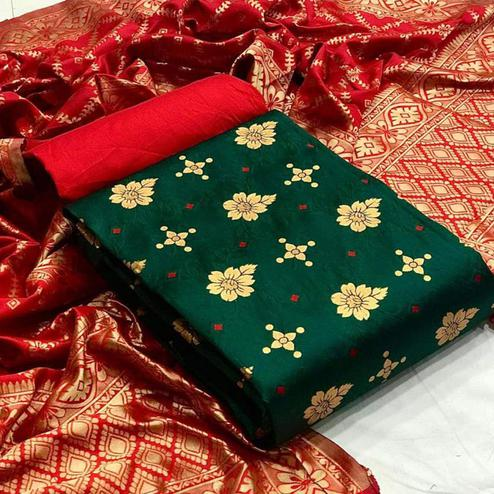 Staring Green Colored Festive Wear Banarasi Silk Dress Material