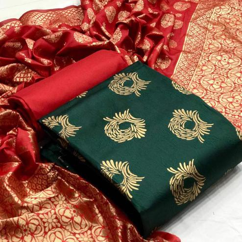 Desirable Dark Green Colored Festive Wear Banarasi Silk Dress Material