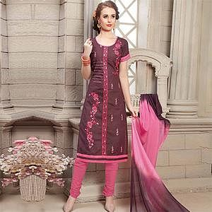 Brown Floral Embroidered Work Unstitched Poly Cotton Dress Material