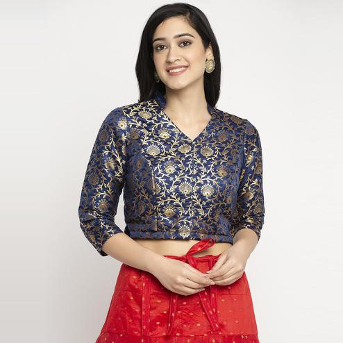 Ayaany - Blue Colored Banarasi Silk Blouse With Cotton Lining