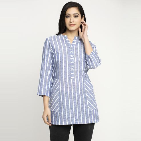 Ayaany - Blue Colored Striper Casual Cotton Top With Pockets