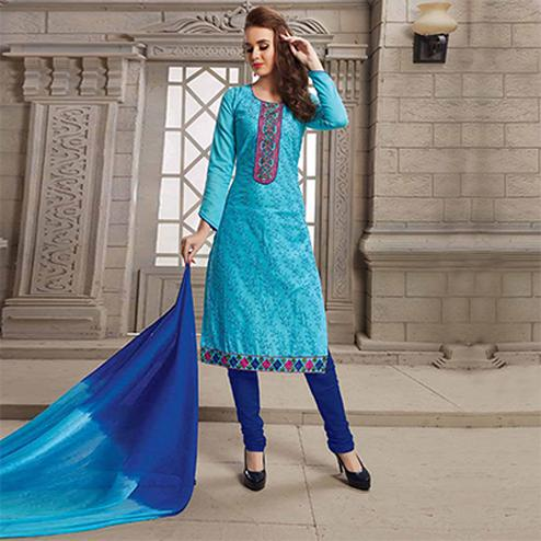 Sky Blue Floral Kali Embroidered Work Casual Wera Poly cotton Suit