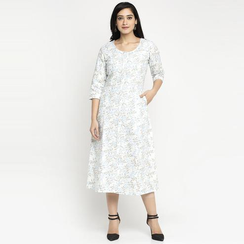 Ayaany - Cream Colored Casual Printed Cotton Kurti