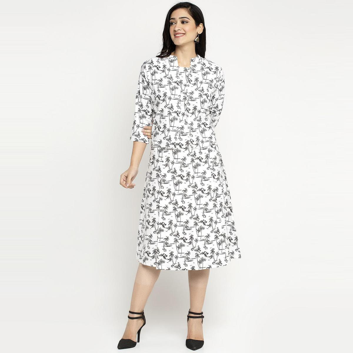 Ayaany - Cream Colored Set Off Offsleeve Comfortable Cotton Dress With Shrug