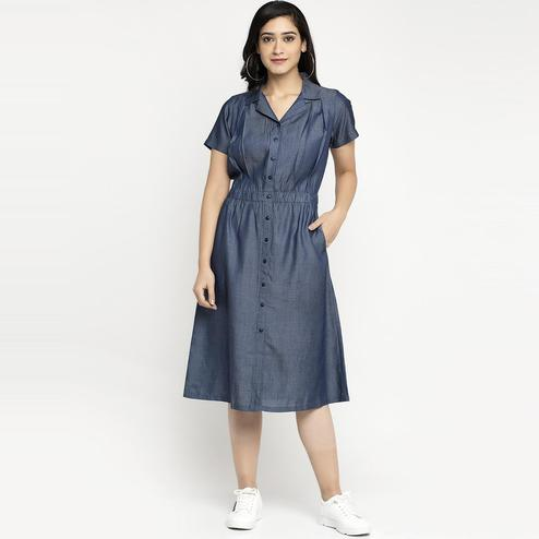 Ayaany - Blue Colored Casual Cotton Dress