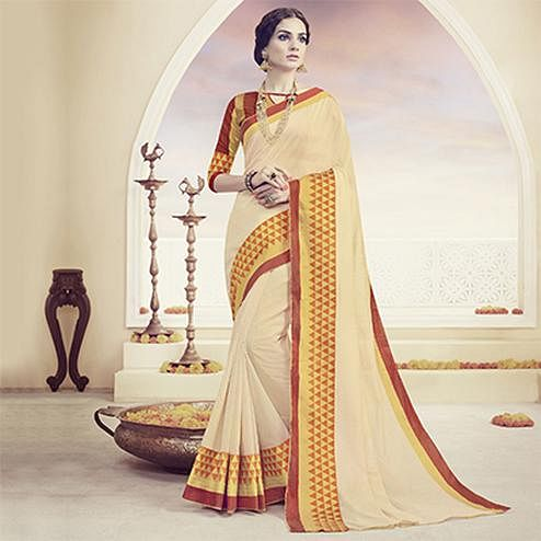 Cream - Red Polyster Cotton Weaving Saree