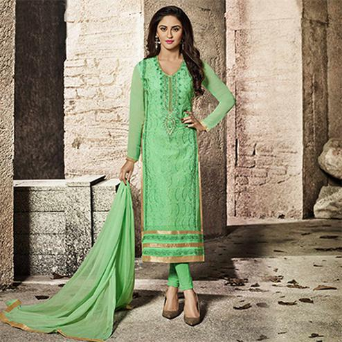 Graceful Green Designer Embroidered Glass Cotton Salwar Suit
