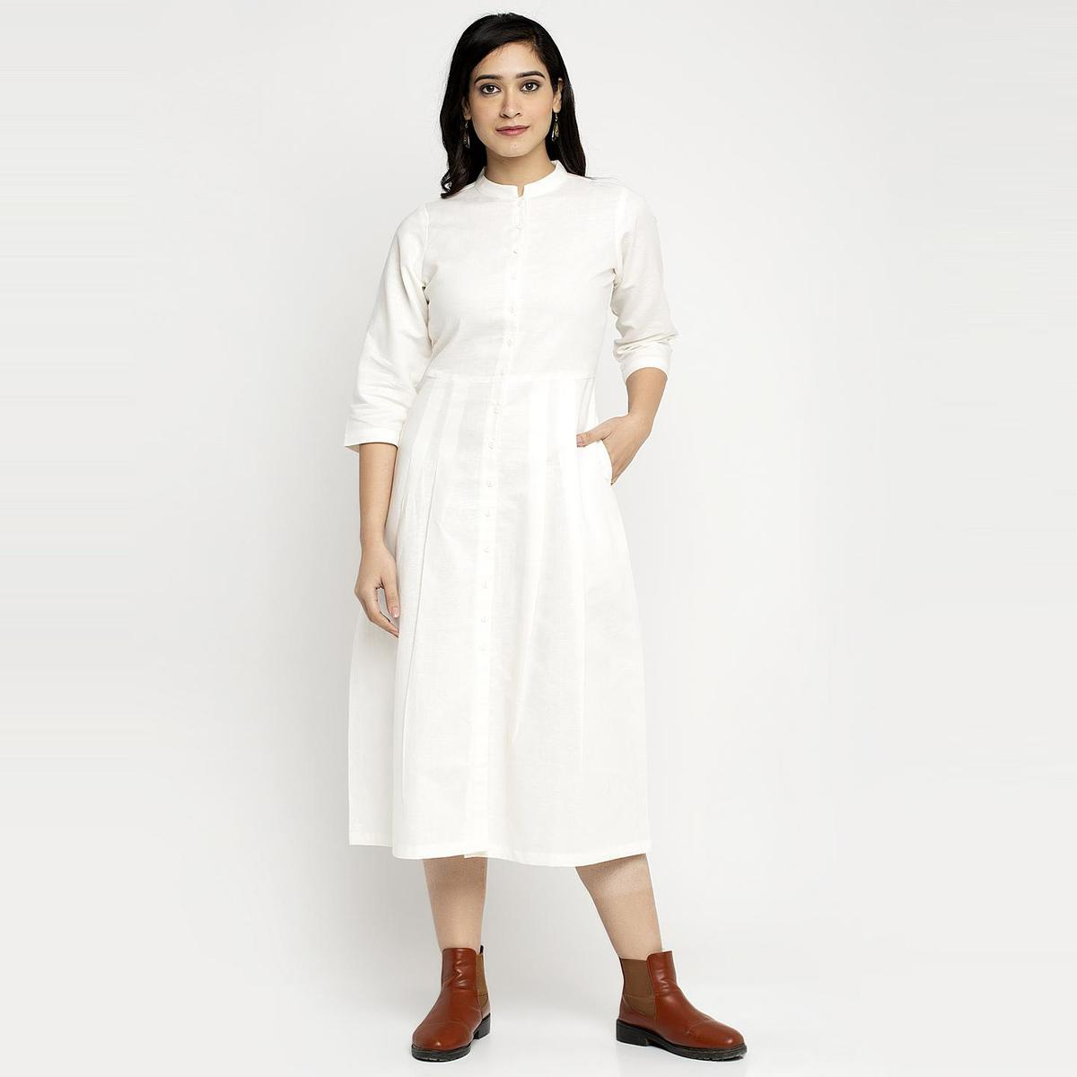Ayaany - Beige Colored Linen Cotton Pleated Dress With Pockets