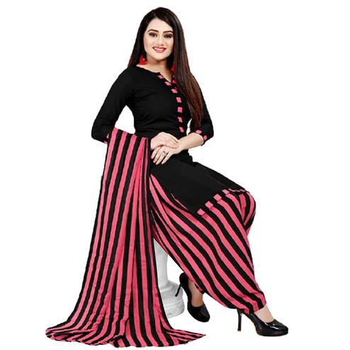 Jazzy Black - Pink Colored Casual Wear Printed Crepe Patiala Dress Material