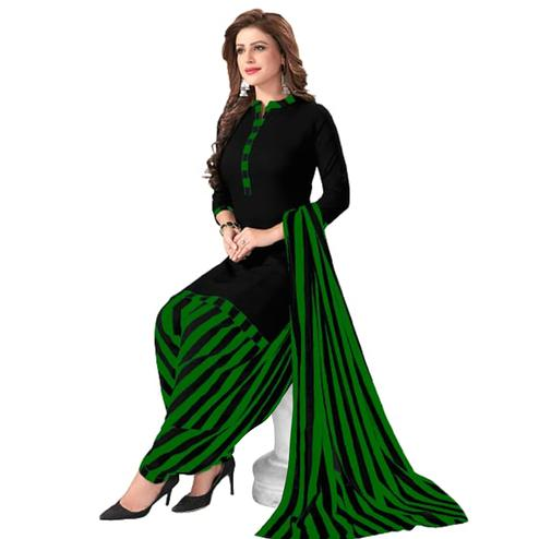 Engrossing Black - Green Colored Casual Wear Printed Crepe Patiala Dress Material