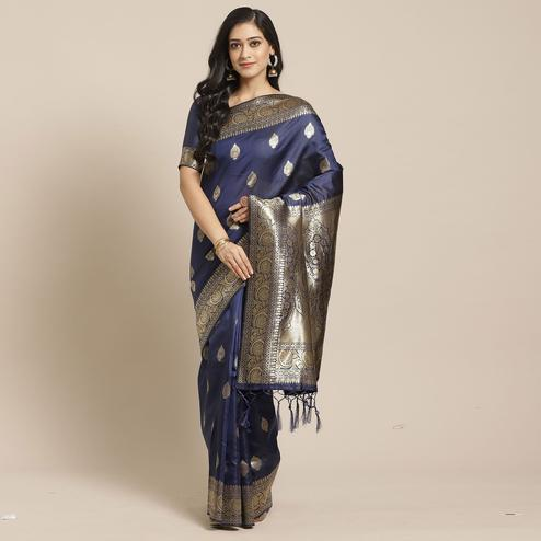 Desirable Navy Blue Colored Festive Wear Woven Silk Blend Saree