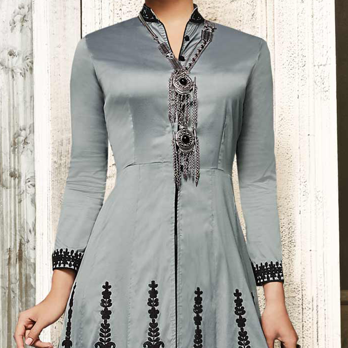 Sizzling Gray Embroidered Designer Tapetta Silk Abaya Style Anarkali Suit