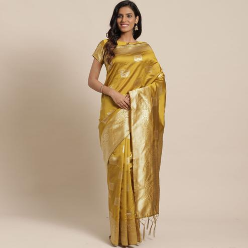 Refreshing Gold Colored Festive Wear Woven Silk Blend Saree