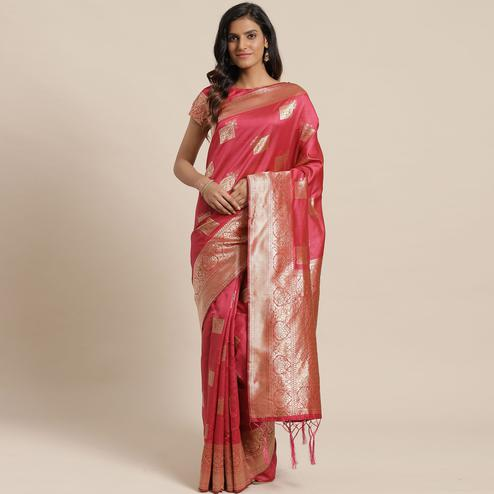 Magnetic Pink Colored Festive Wear Woven Silk Blend Saree