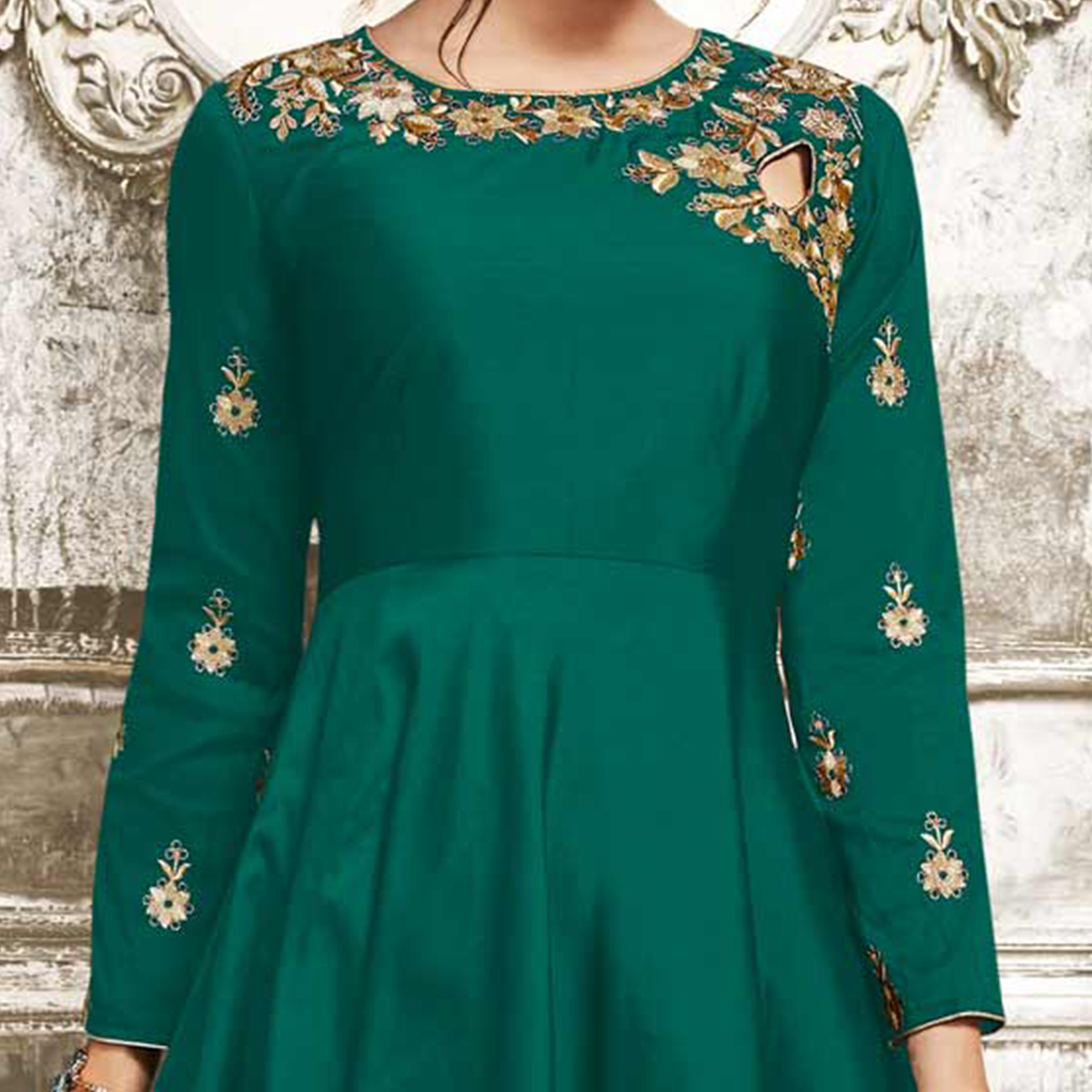 Beautiful Green Designer Tapetta Silk Lehenga Kameez
