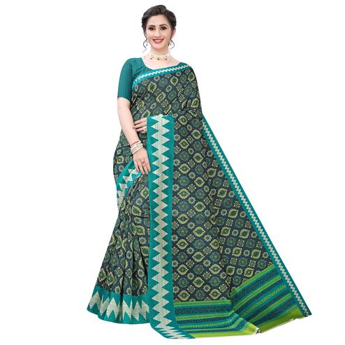 Prominent Dark Green Colored Casual Wear Printed Zoya Silk Saree