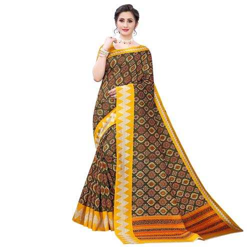 Appealing Mehendi Green - Yellow Colored Casual Wear Printed Zoya Silk Saree