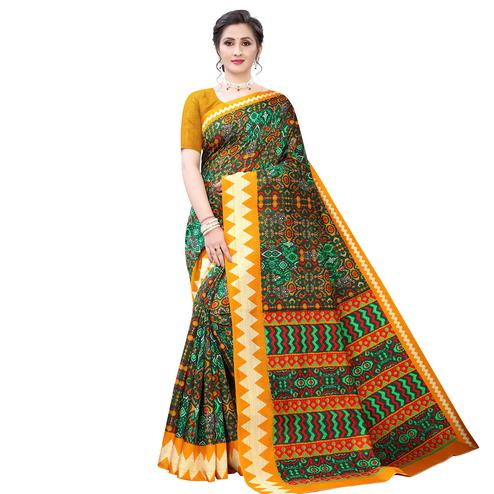 Groovy Dark Green - Yellow Colored Casual Wear Printed Zoya Silk Saree