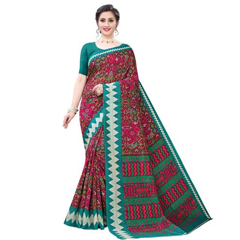 Adorning Maroon - Green Colored Casual Wear Printed Zoya Silk Saree