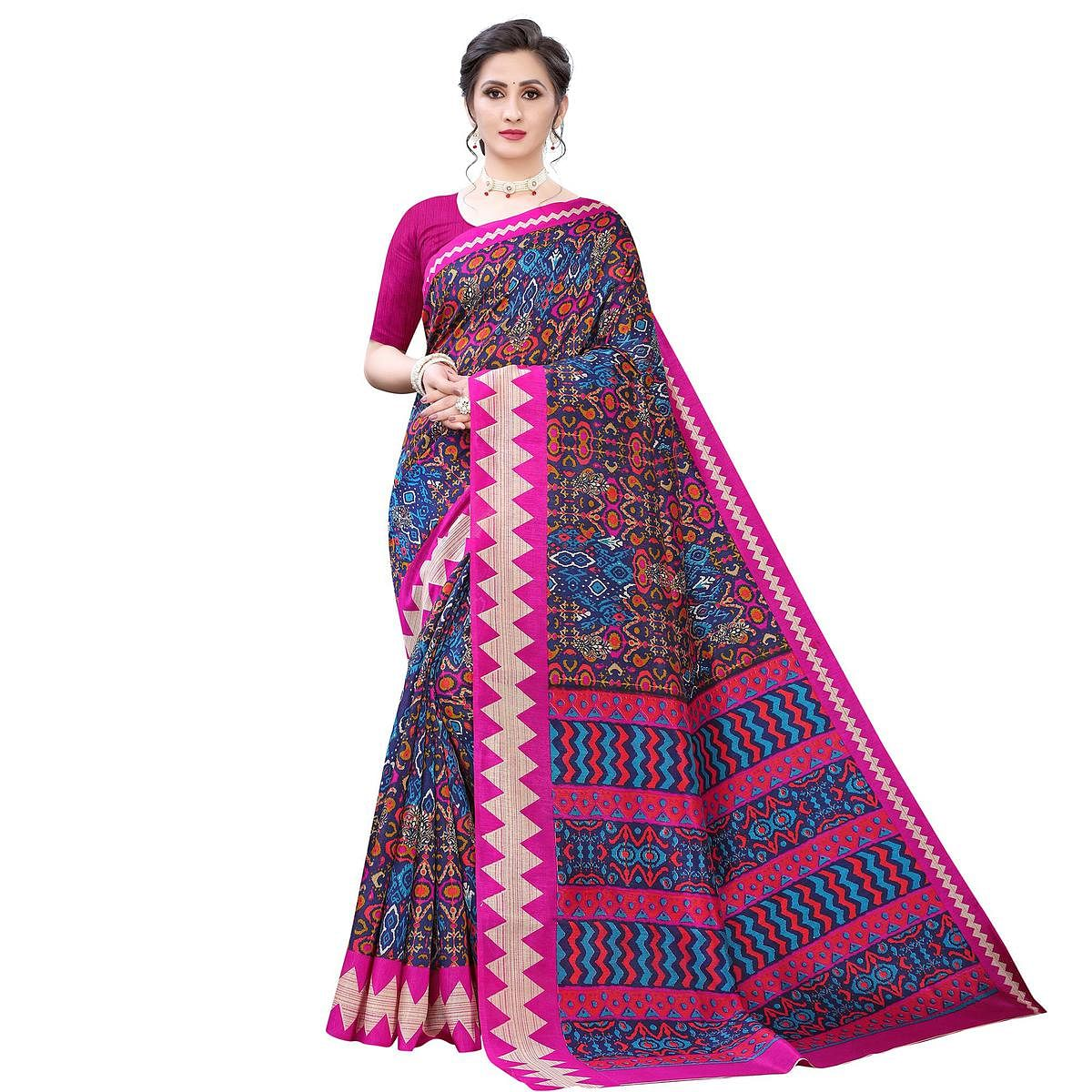 Exclusive Navy Blue - Pink Colored Casual Wear Printed Zoya Silk Saree
