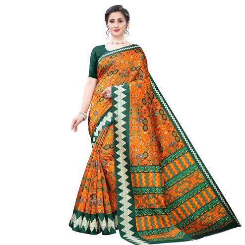 Adorable Yellow - Green Colored Casual Wear Printed Zoya Silk Saree