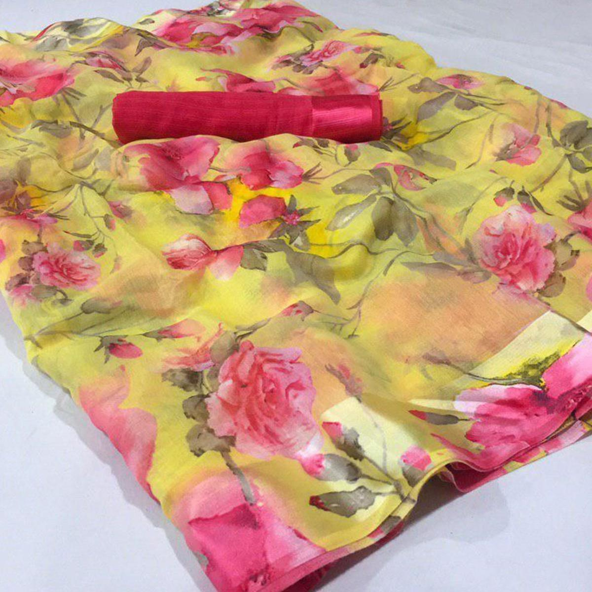 Staring Yellow Colored Casual Wear Floral Printed Linen Saree