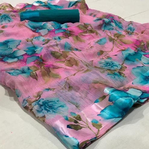 Surpassing Pink Colored Casual Wear Floral Printed Linen Saree