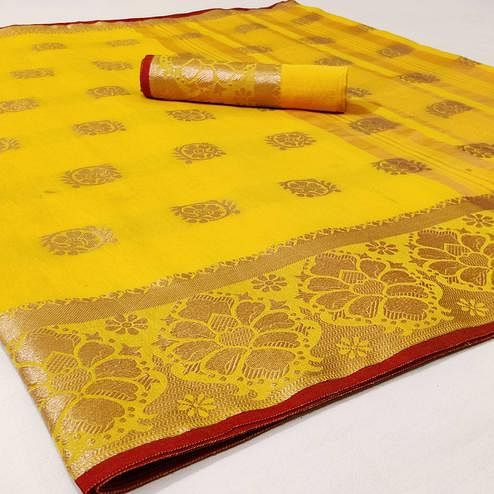 Ideal Yellow Colored Festive Wear Woven Linen Saree