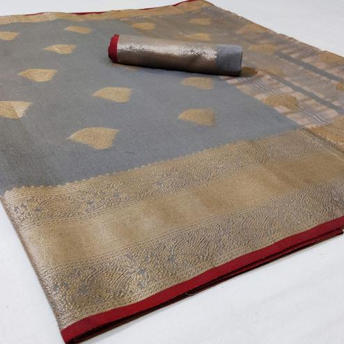 Majesty Grey Colored Festive Wear Woven Linen Saree