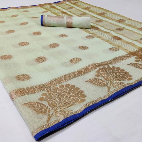 Mesmerising Pastel Green Colored Festive Wear Woven Linen Saree