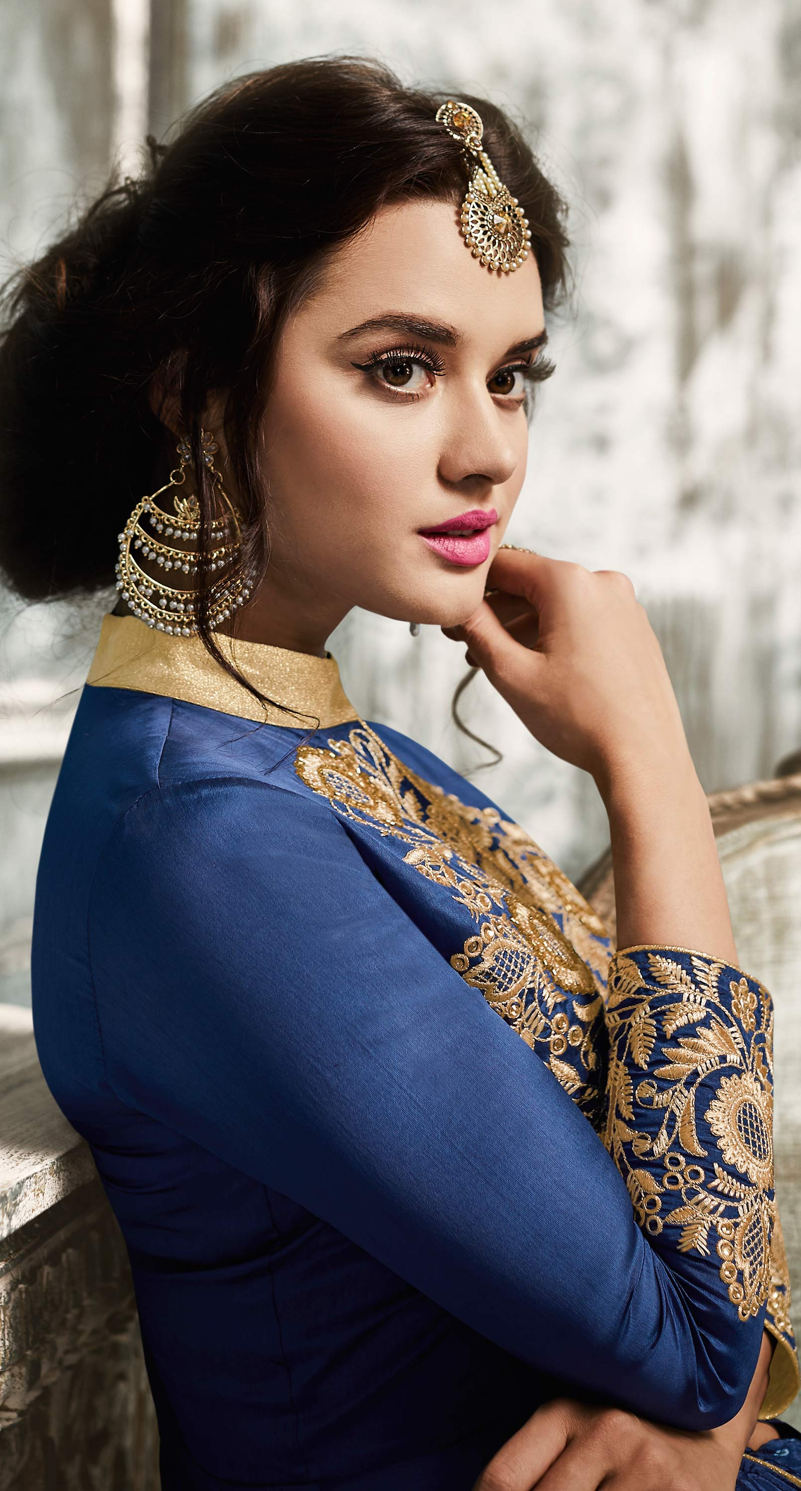 Graceful Blue Embroidered Designer Tapetta Silk Abaya Style Anarkali