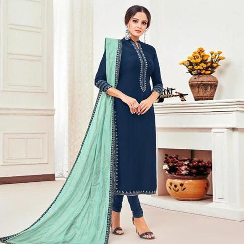 Exclusive Navy Blue Colored Partywear Embroidered Chanderi Dress Material
