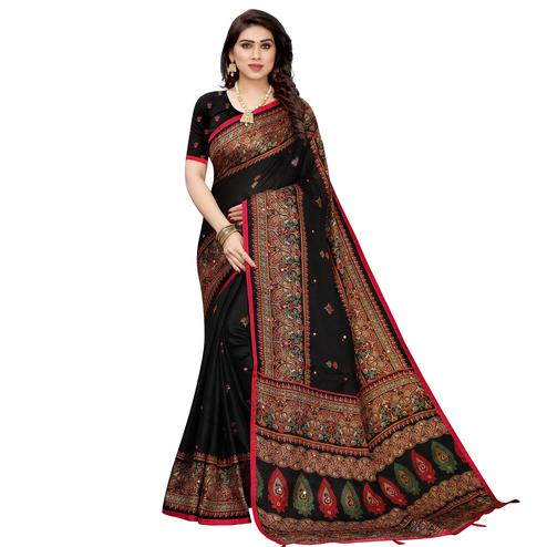 Adorable Black Colored Festive Wear Woven Linen Silk Saree