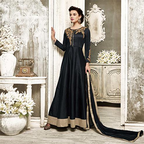 Mesmerising Black Embroidered Designer Tapetta Silk Abaya Style Anarkali