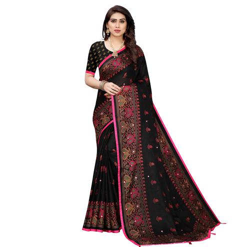 Blooming Black Colored Festive Wear Woven Linen Silk Saree