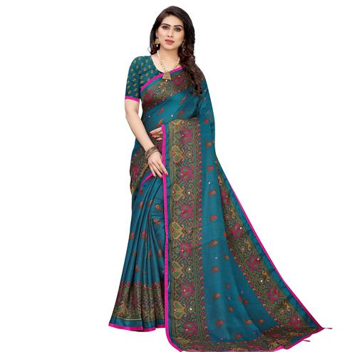 Charming Turquoise Blue Colored Festive Wear Woven Linen Silk Saree