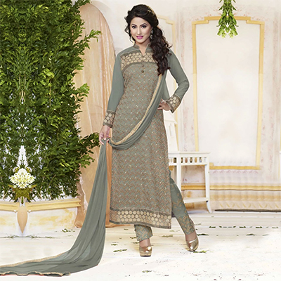Grey Georgette Embroidered Work Suit