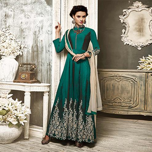 Gorgeous Green Embroidered Designer Tapetta Silk Abaya Style Anarkali