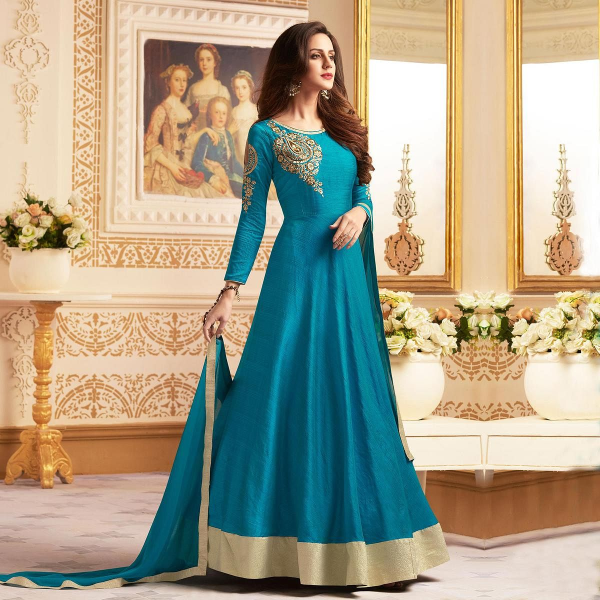 Mesmerising Teal Blue Colored Designer Embroidered C-N Banglori Silk Anarkali Suit